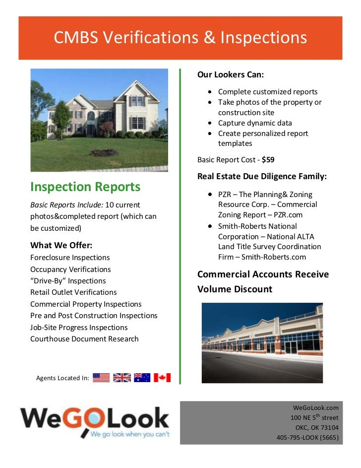 CMBS Verifications & Inspections                                        Our Lookers Can:                                  ...