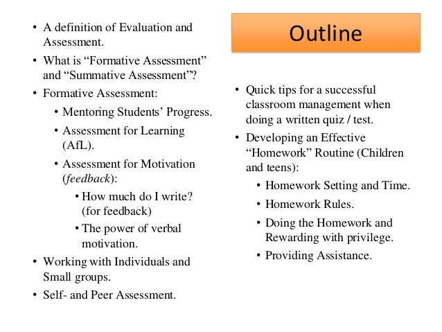 Assessment Outline And Assessment Outline•