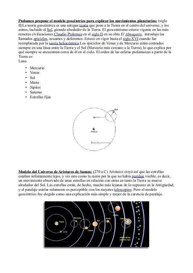 Ptolomeo propone el modelo geocéntrico para explicar los movimientos planetarios: (siglo  II)La teoría geocéntrica es una ...