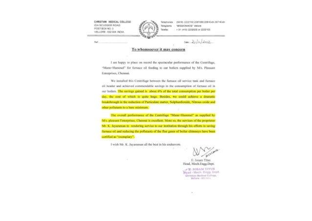 CASE STUDY @ CHRISTIAN MEDICAL COLLEGE (CMC) HOSPITAL -VELLORE FOR FURNACE OIL PATENTED MANN+HUMMEL CENTRIFUGE FILTER-MODE...
