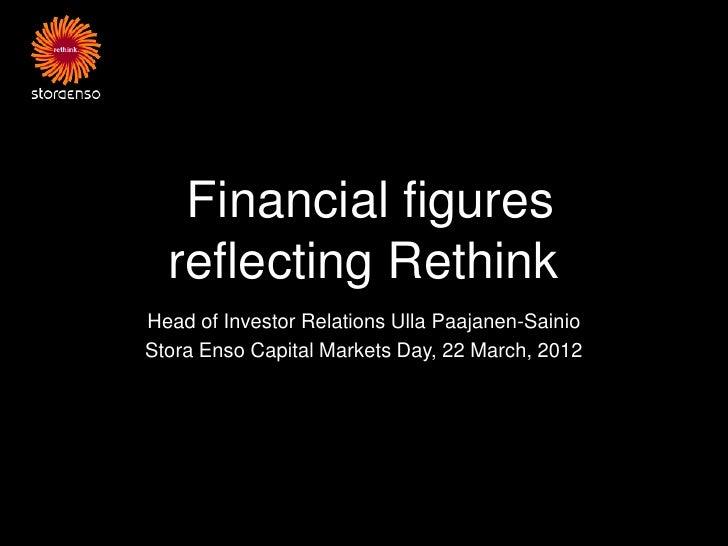 Financial figures  reflecting RethinkHead of Investor Relations Ulla Paajanen-SainioStora Enso Capital Markets Day, 22 Mar...