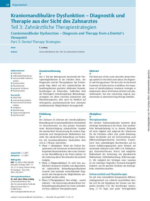 Kraniomandibuläre Dysfunktion – Diagnostik und Therapie aus der Sicht des Zahnarztes Teil 3: Zahnärztliche Therapiestrateg...
