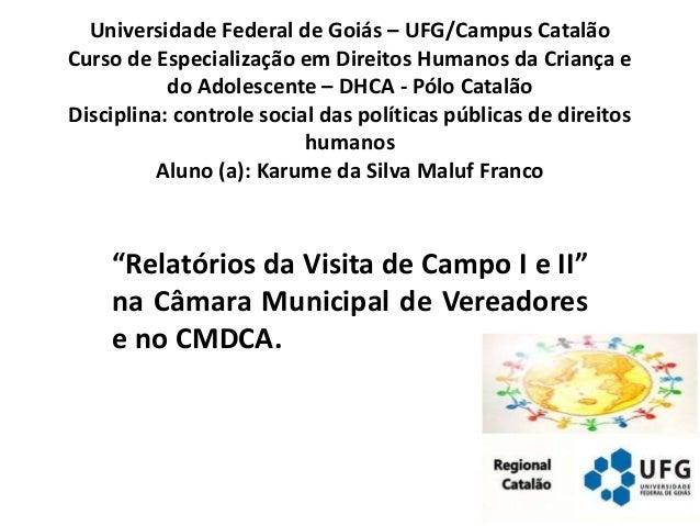 Universidade Federal de Goiás – UFG/Campus Catalão Curso de Especialização em Direitos Humanos da Criança e do Adolescente...