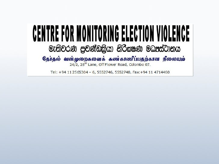 CMEV - Interim Report of Eastern Provincial Council Elections - May 2008