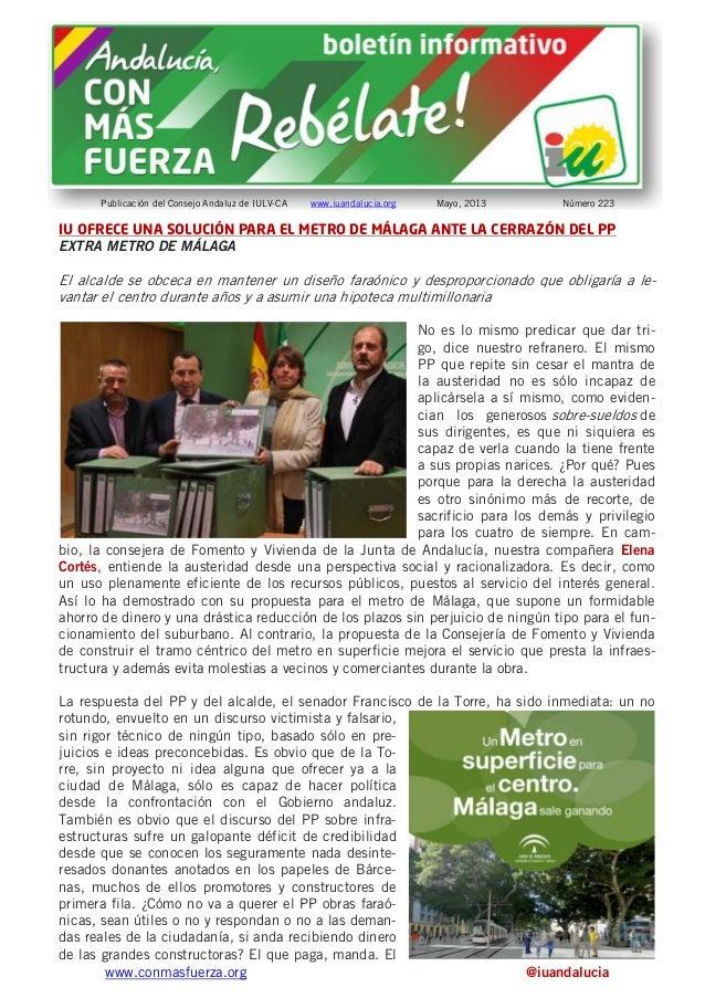 www.conmasfuerza.org @iuandaluciaPublicación del Consejo Andaluz de IULV-CA www.iuandalucia.org Mayo, 2013 Número 223IU OF...