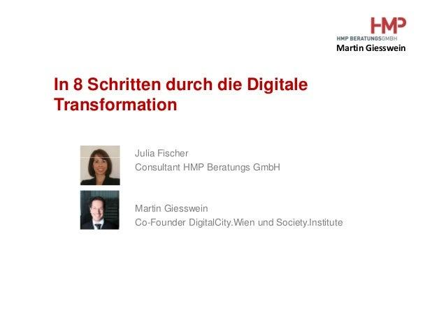 Martin Giesswein In 8 Schritten durch die Digitale Transformation Julia FischerJulia Fischer Consultant HMP Beratungs GmbH...