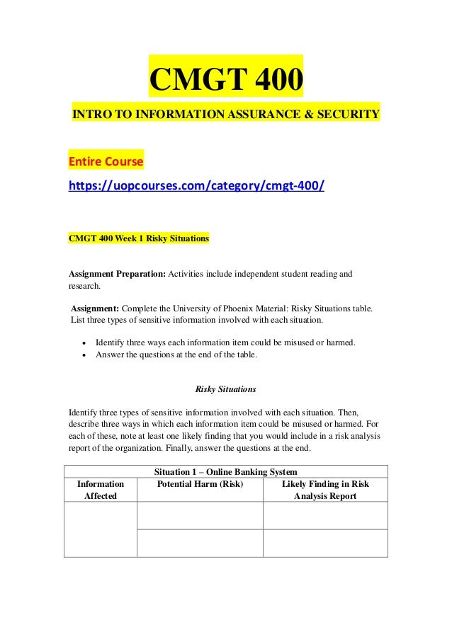 cmgt 400 week 5 it security Cmgt 400 week 5 it security report paper this document includes cmgt 400 week 5 it security report paper general questions - general general questions develop a.