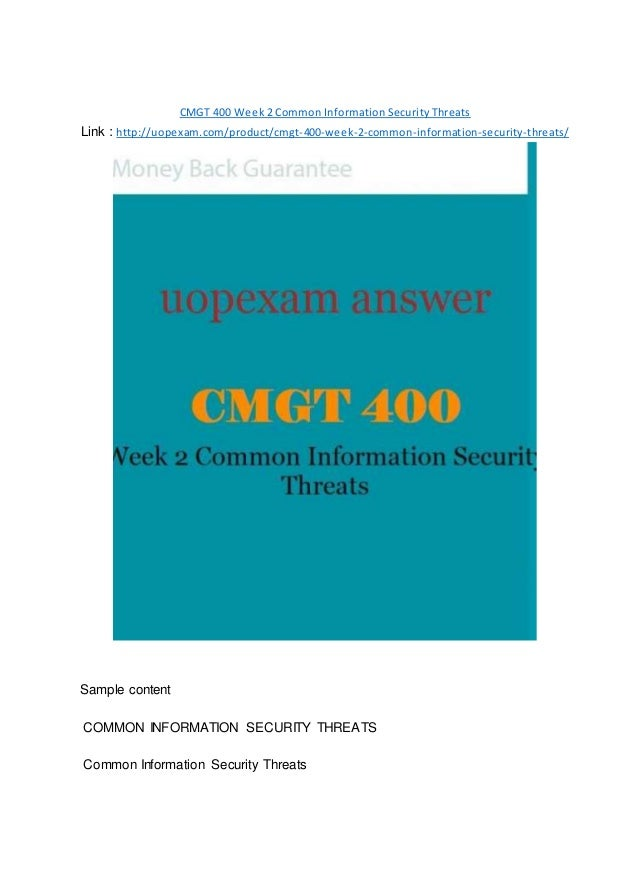 cmgt 400 week 2 Author: sumathi050, catalog: cmgt 400 week 2 individual assignment common information securit,  cmgt 400 week 2 dq 2 published on jan 29,.