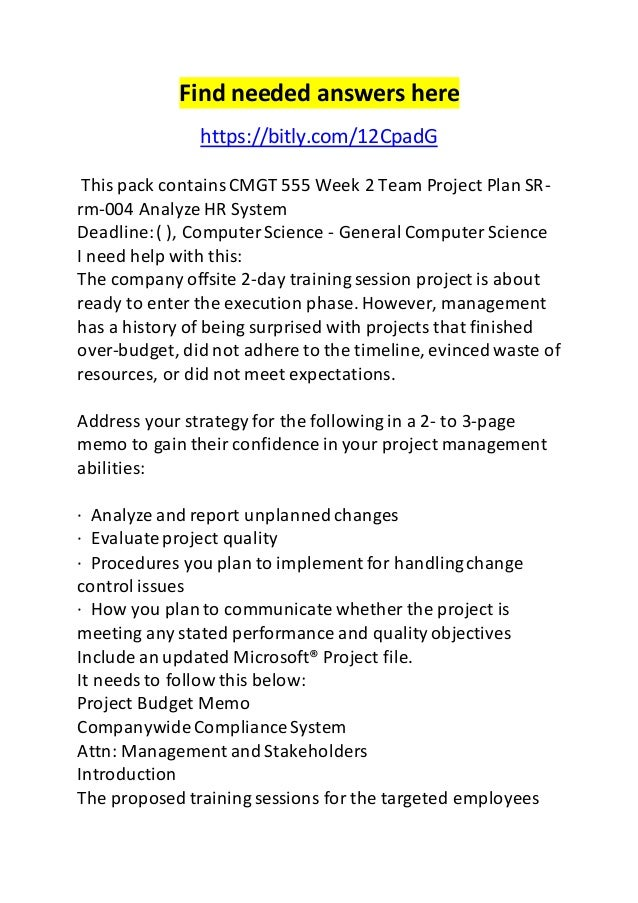 Cmgt 555 Week 2 Team Project Plan