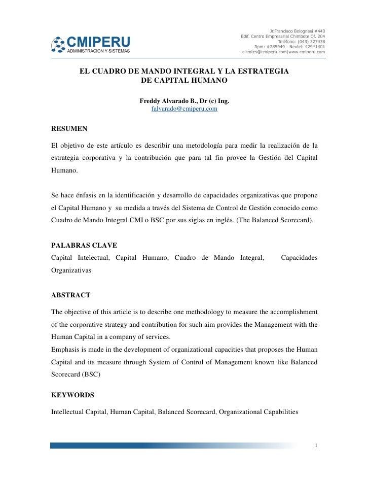 EL CUADRO DE MANDO INTEGRAL Y LA ESTRATEGIA                       DE CAPITAL HUMANO                              Freddy Al...