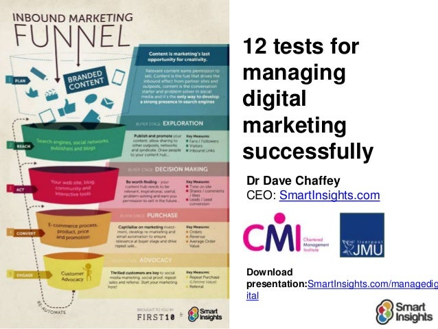 12 tests formanagingdigitalmarketingsuccessfullyDr Dave ChaffeyCEO: SmartInsights.comDownloadpresentation:SmartInsights.co...