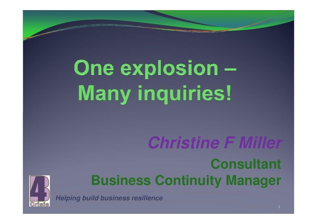 One Explosion (Varanus Island) Many Inquiries 18 10 09