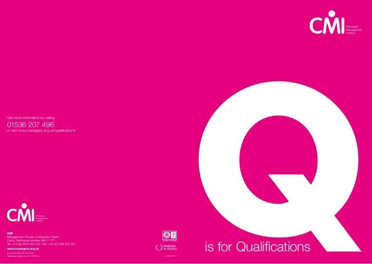 CMI Qualifications Brochure 2011