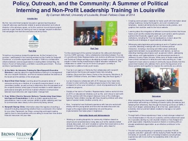 Policy, Outreach, and the Community: A Summer of Political Interning and Non-Profit Leadership Training in Louisville By C...
