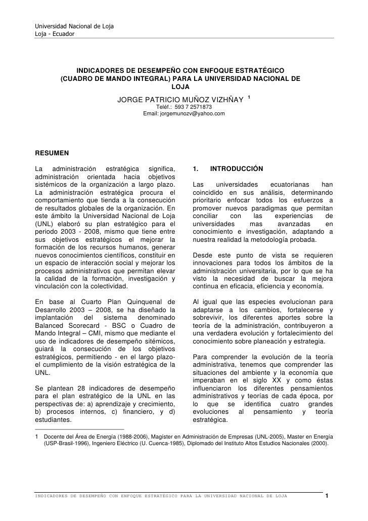 Universidad Nacional de LojaLoja - Ecuador             INDICADORES DE DESEMPEÑO CON ENFOQUE ESTRATÉGICO         (CUADRO DE...