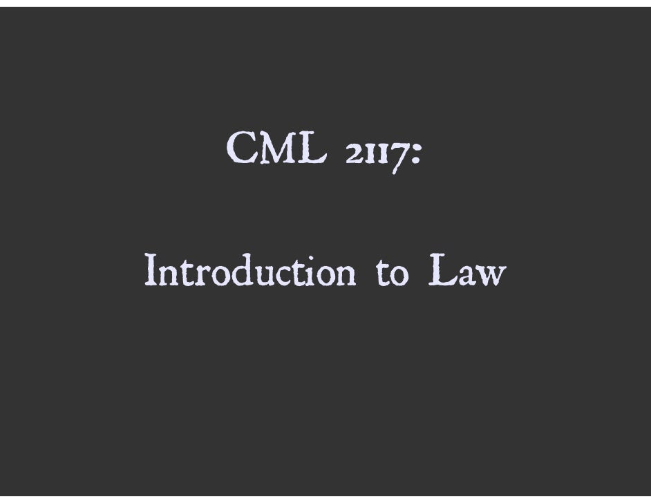CML2117 Introduction To Law 2008, Lecture 1