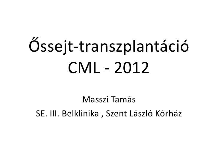 Őssejt-transzplantáció     CML - 2012                Masszi Tamás SE. III. Belklinika , Szent László Kórház