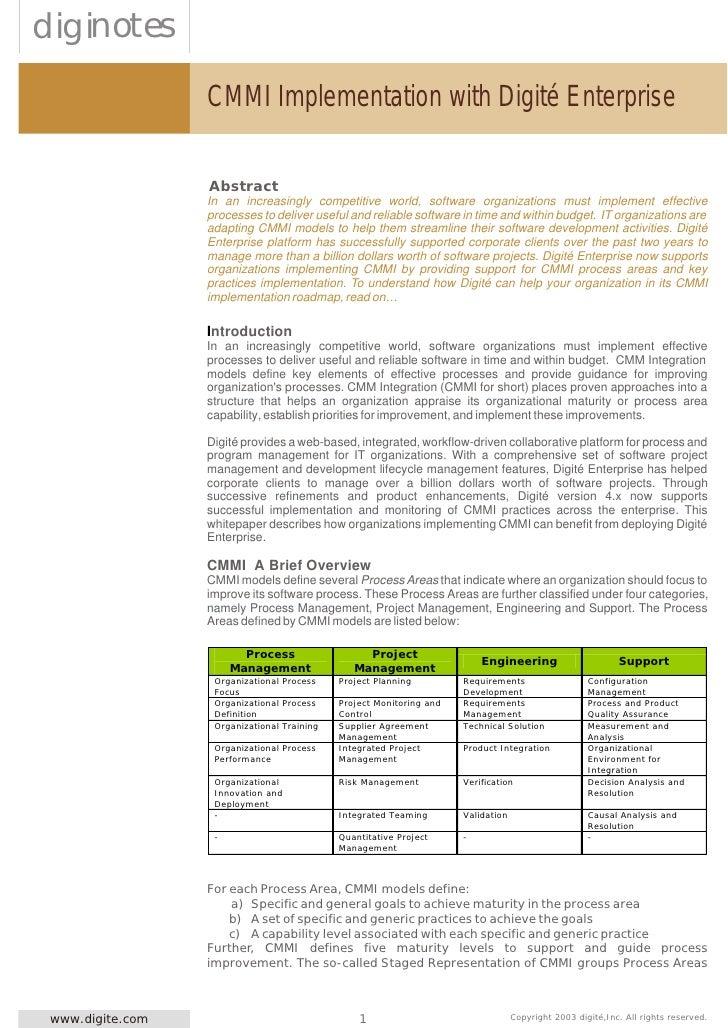 CMMI Implementation with Digité Enterprise