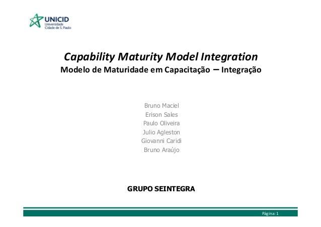 Capability Maturity Model Integration Modelo de Maturidade em Capacitação – Integração  Bruno Maciel Erison Sales Paulo Ol...