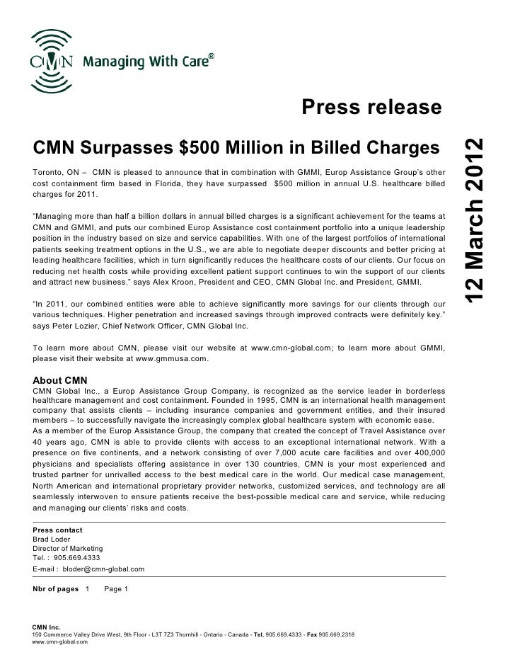 Press releaseCMN Surpasses $500 Million in Billed Charges                                                                 ...