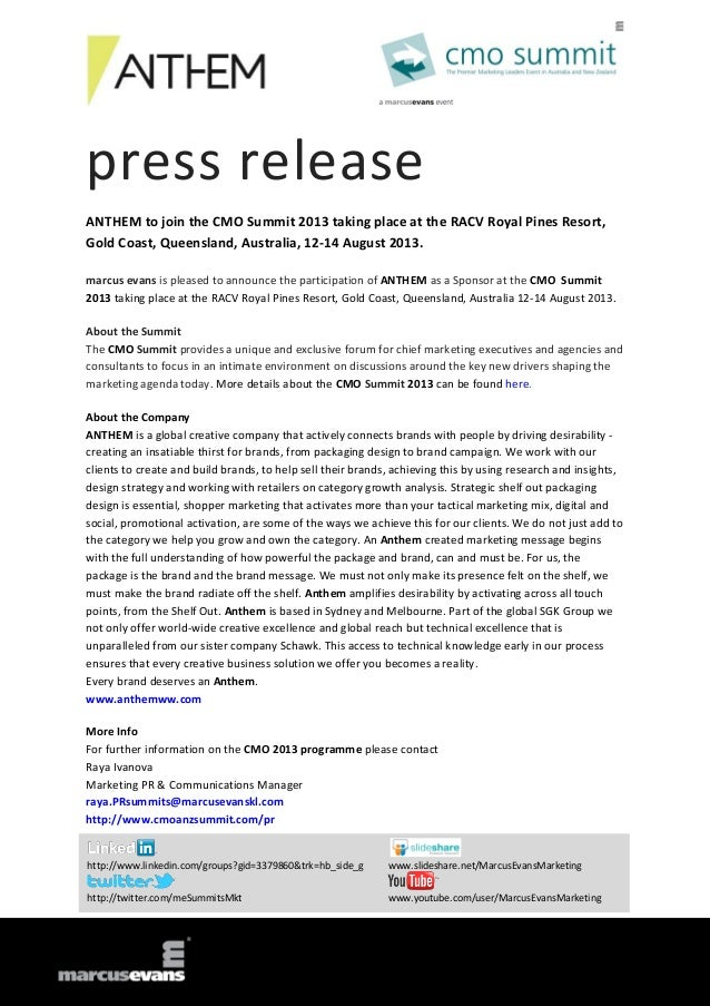 press release ANTHEM to join the CMO Summit 2013 taking place at the RACV Royal Pines Resort, Gold Coast, Queensland, Aust...