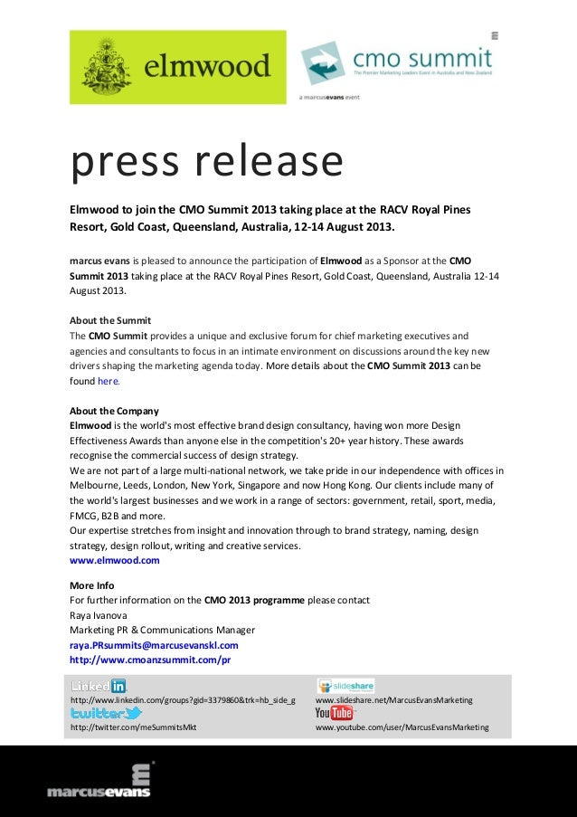 press release Elmwood to join the CMO Summit 2013 taking place at the RACV Royal Pines Resort, Gold Coast, Queensland, Aus...