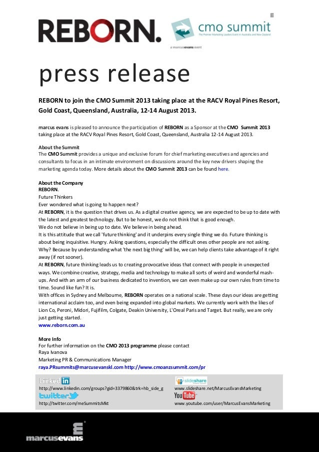 press release REBORN to join the CMO Summit 2013 taking place at the RACV Royal Pines Resort, Gold Coast, Queensland, Aust...