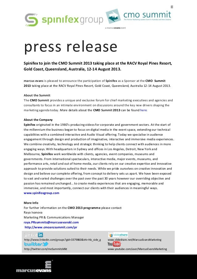 press release Spinifex to join the CMO Summit 2013 taking place at the RACV Royal Pines Resort, Gold Coast, Queensland, Au...