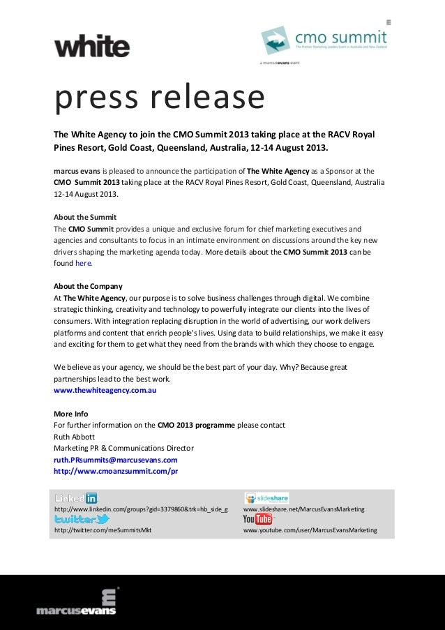 press releaseThe White Agency to join the CMO Summit 2013 taking place at the RACV RoyalPines Resort, Gold Coast, Queensla...