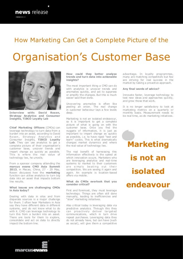 How Marketing Can Get a Complete Picture of the  Organisation's Customer Base                                             ...