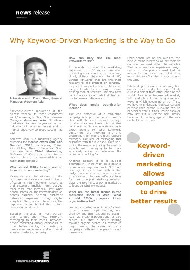 Cmo asia summit 2013   david shen news releaseWhy Keyword-Driven Marketing is the Way to Go: Interview with: David Shen, General Manager, Acronym Asia