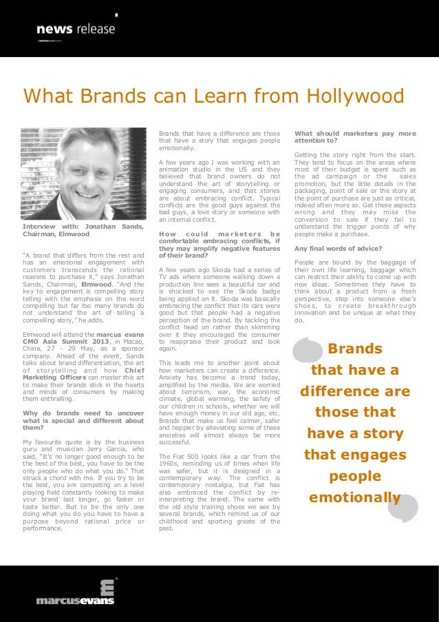 What Brands can Learn from Hollywood: Interview with: Jonathan Sands, Chairman, Elmwood
