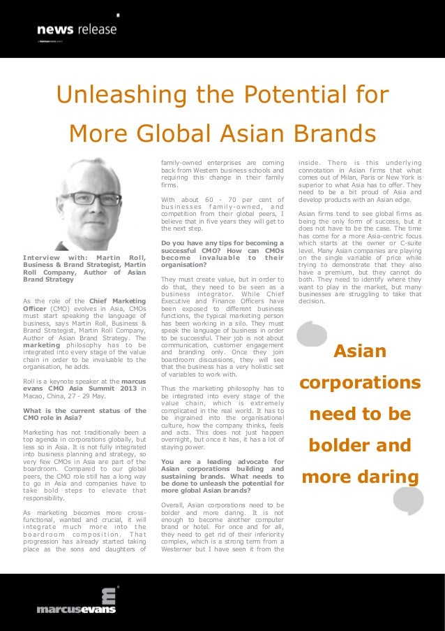 Interview with: Martin Roll,Business & Brand Strategist, MartinRoll Company, Author of AsianBrand StrategyAs the role of t...