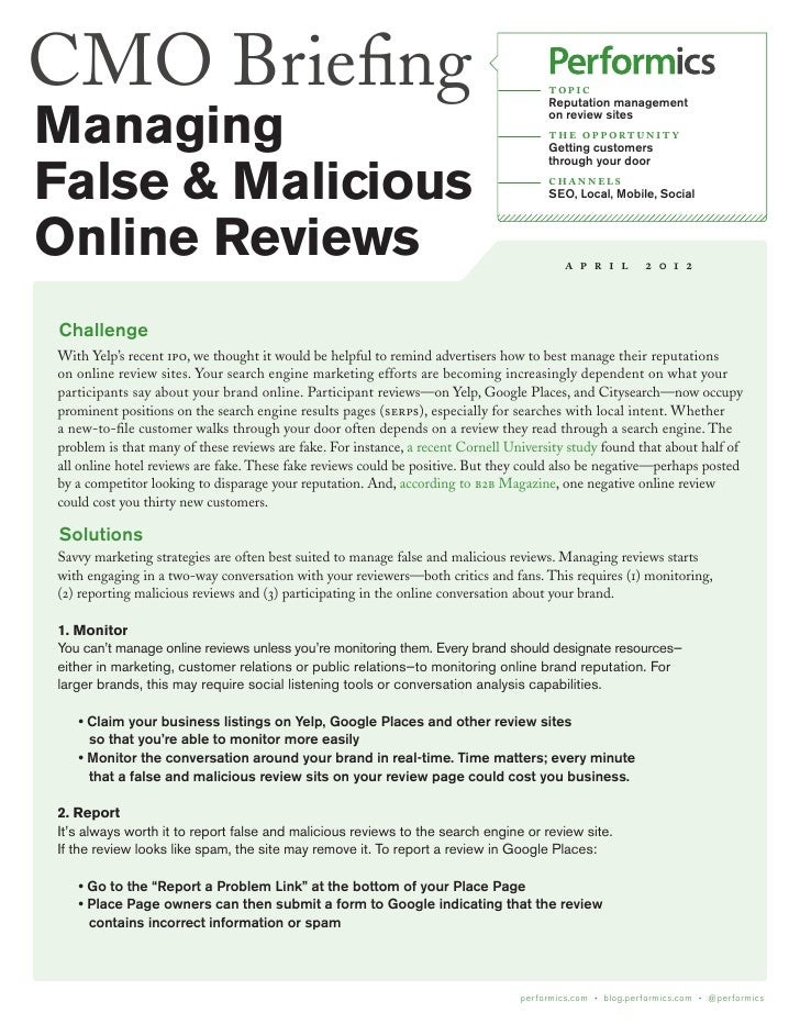 Protecting Your Brand from False and Malicious Online Reviews by Performics
