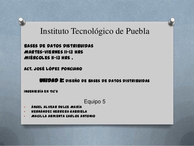 Instituto Tecnológico de PueblaBases de Datos DistribuidasMartes-viernes 11-13 hrsMiércoles 11-13 hrs .Act. José López Pon...