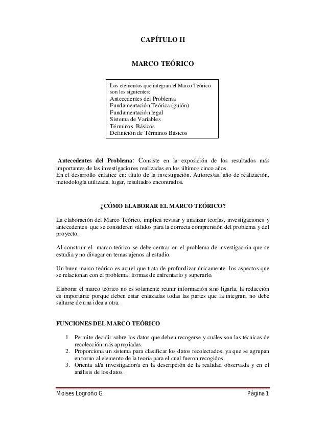 Moises Logroño G. Página 1 CAPÍTULO II MARCO TEÓRICO Antecedentes del Problema: Consiste en la exposición de los resultado...