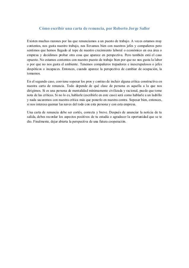C 243 mo escribir una carta de renuncia roberto jorge saller