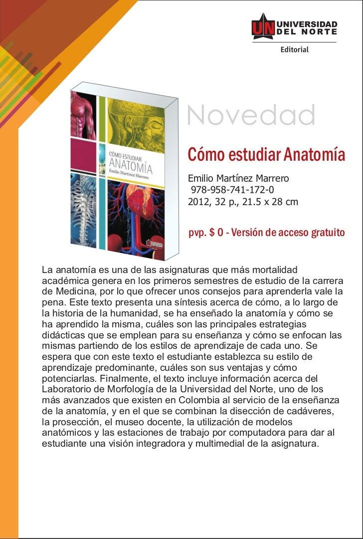 Novedad                                 Cómo estudiar Anatomía                                 Emilio Martínez Marrero    ...