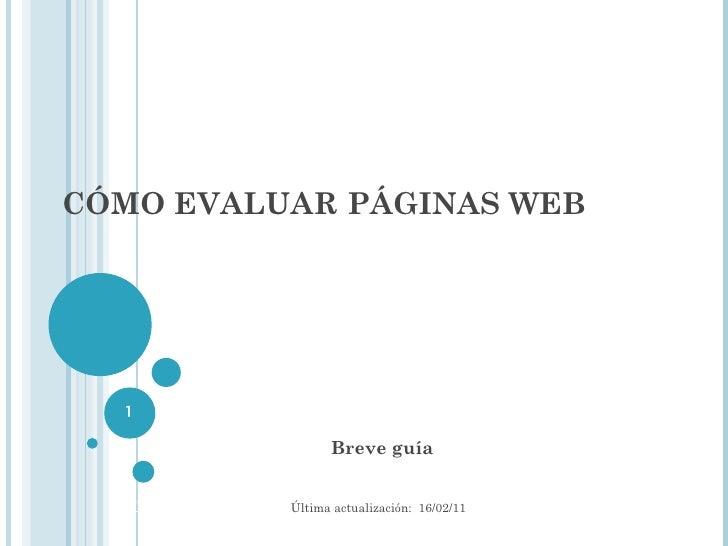 Cómo evaluar páginas web: breve guía