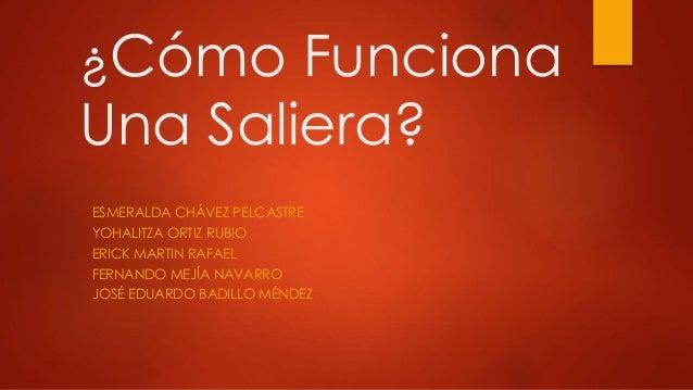¿Cómo Funciona  Una Saliera?  ESMERALDA CHÁVEZ PELCASTRE  YOHALITZA ORTIZ RUBIO  ERICK MARTIN RAFAEL  FERNANDO MEJÍA NAVAR...