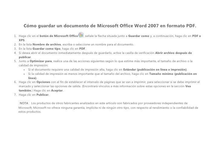 Cómo guardar un documento de Microsoft Office Word 2007 en formato PDF.  1. Haga clic en el botón de Microsoft Office     ...