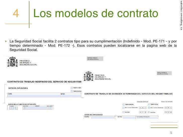 C mo hacer el contrato de trabajo a un empleado de hogar for Modelo contrato empleada de hogar indefinido