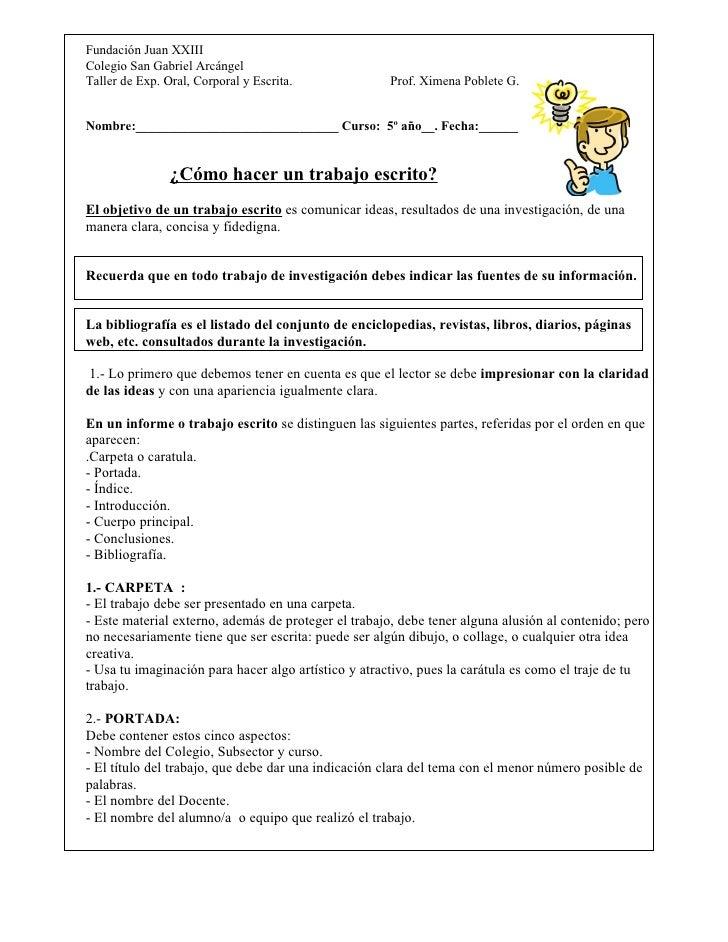 Fundación Juan XXIII Colegio San Gabriel Arcángel Taller de Exp. Oral, Corporal y Escrita.              Prof. Ximena Poble...