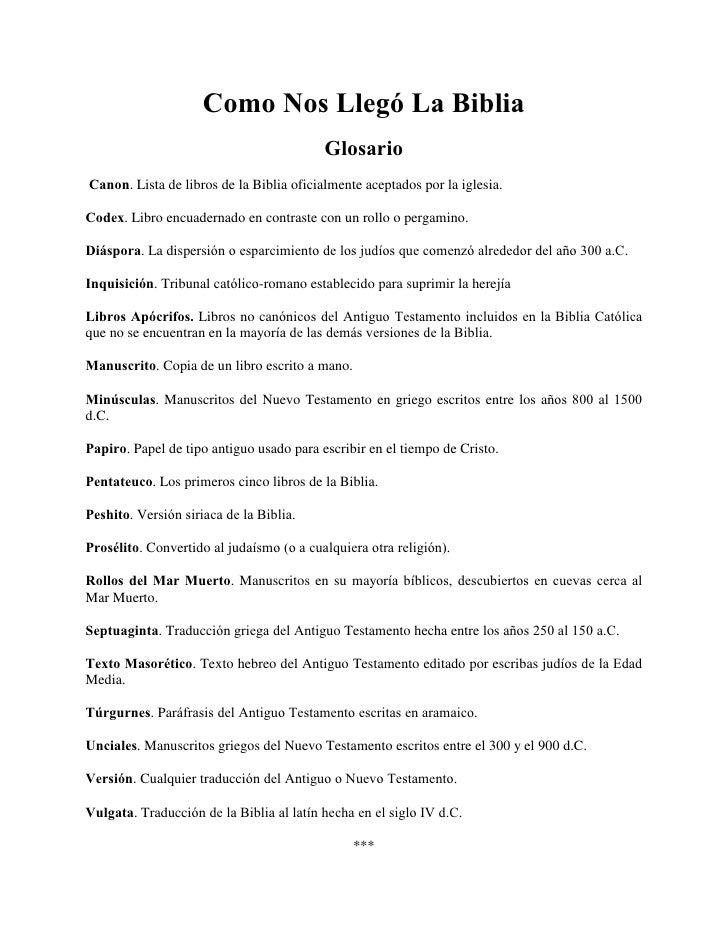 Como Nos Llegó La Biblia                                          GlosarioCanon. Lista de libros de la Biblia oficialmente...