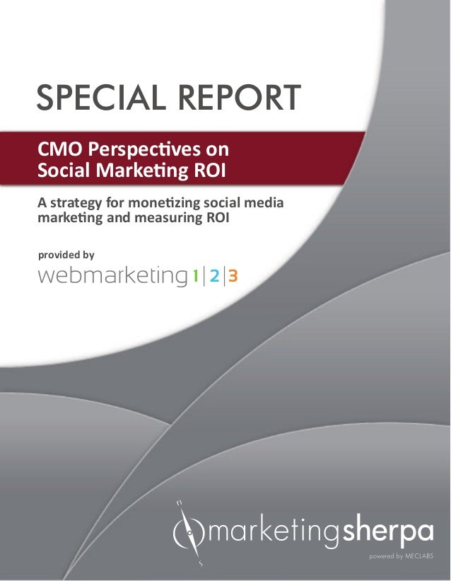 A strategy for monetizing social mediamarketing and measuring ROISPECIAL REPORTCMO Perspectives onSocial Marketing ROIprov...