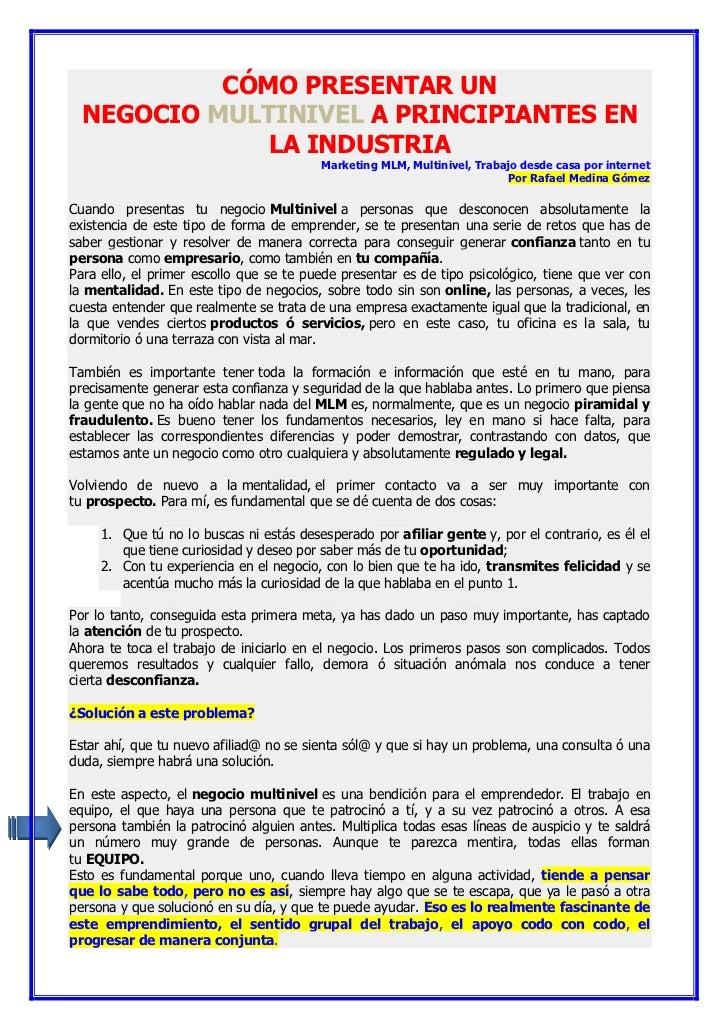 CÓMO PRESENTAR UN  NEGOCIO MULTINIVEL A PRINCIPIANTES EN              LA INDUSTRIA                                        ...