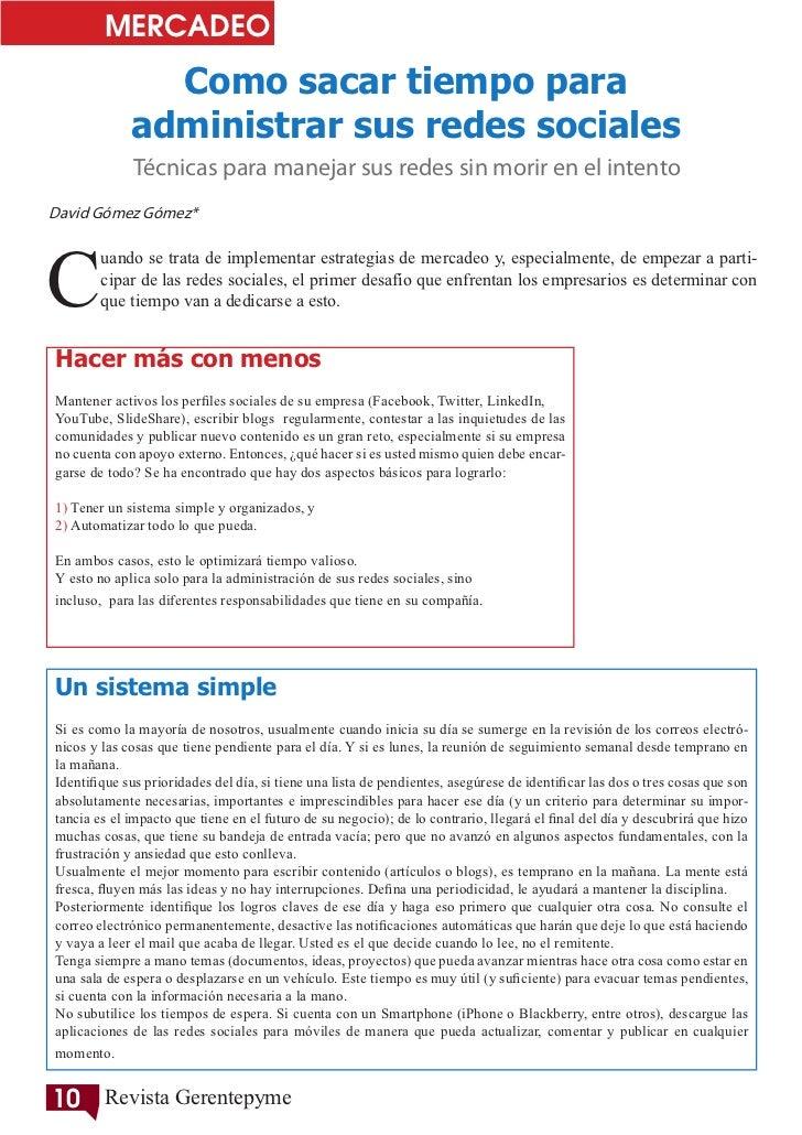 MERCADEO               Como sacar tiempo para             administrar sus redes sociales             Técnicas para manejar...