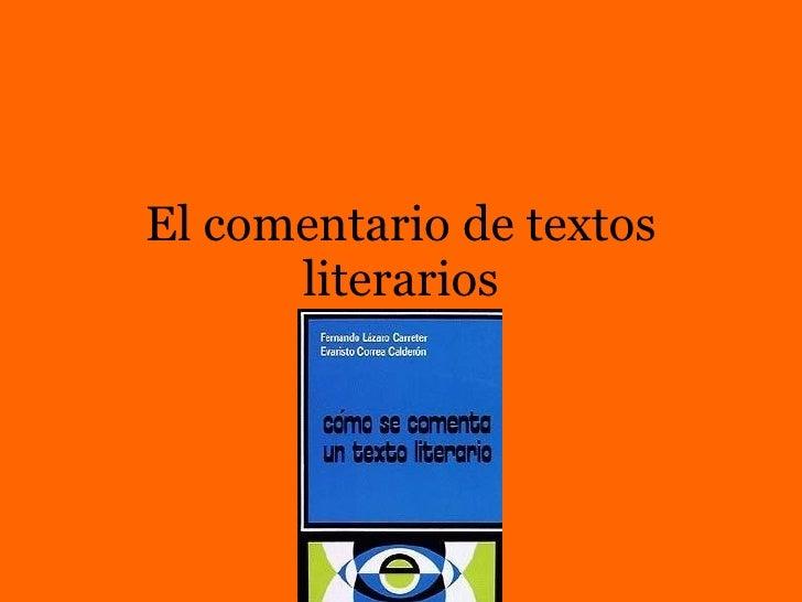 El comentario de textos literarios