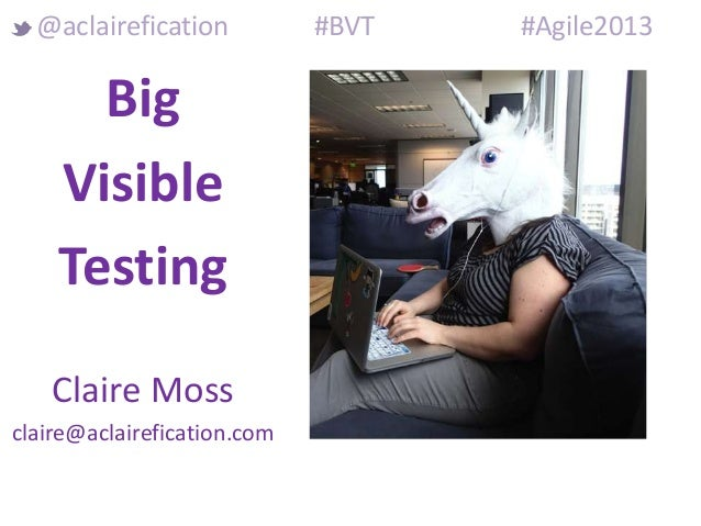 Big Visible Testing Claire Moss claire@aclairefication.com @aclairefication #BVT #Agile2013