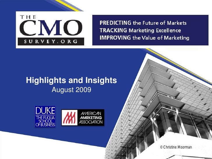 Cmo Survey Highlights And Insights, August 2009